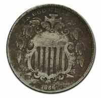 1866 SHIELD 5 CENT NICKEL COIN