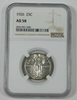 1926 STANDING LIBERTY QUARTER CERTIFIED NGC AU 58 SILVER 25C