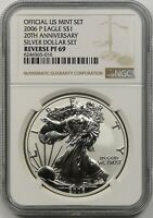 2006-P 20TH ANNIVERSARY SILVER EAGLE DOLLAR $1 REVERSE PROOF PF 69 NGC US MINT
