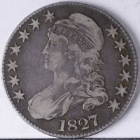 1827 CAPPED BUST HALF VF SQUARE BASE 2