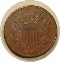 1864 TWO CENT PIECE 2C TRIPLE PUNCHED DATE   BROWN  FINE COIN