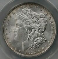 1892 MORGAN $1 ANACS CERTIFIED MINT STATE 64 MINT STATE GRADED US SILVER DOLLAR