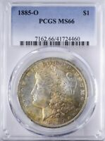 1885 O MORGAN DOLLAR PCGS MINT STATE 66 PRETTY YELLOW, BLUE, RED OBV TONING