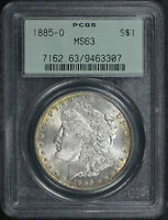 1885-O MORGAN DOLLAR PCGS MINT STATE 63 OLD GREEN HOLDER