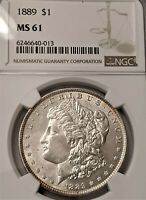 1889 MORGAN -NGC MINT STATE 61 - LUSTER BRIGHT  CLEAN