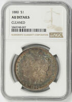 1880 MORGAN SILVER DOLLAR $1 NGC TONED BOTH SIDES AU DETAILS CLEANED