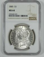 1885 MORGAN SILVER DOLLAR CERTIFIED NGC MINT STATE 64  BAG PRINT TONE