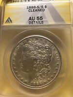 1888 S/S MORGAN SILVER DOLLAR ANACS AU 55; LOW MINTAGE 657K; CLEANED