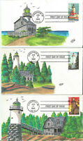 CW RAY CACHET SET OF 5 GREAT LAKES LIGHTHOUSES FDC 1995