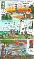 COLLINS CACHET SET OF 5 GREAT LAKES LIGHTHOUSES FDC 1995