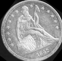 1842   DATE   SEATED LIBERTY SILVER DOLLAR