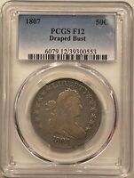1807 DRAPED BUST HALF DOLLAR PCGS F-12, PLEASING CIRCULATED, STRONG DETAIL