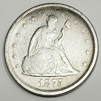 1875 S US SEATED LIBERTY SILVER TWENTY CENT TOUGHER DATE COL