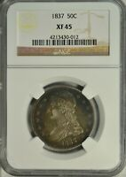 1837 CAPPED BUST HALF DOLLAR, REEDED EDGE, NGC EXTRA FINE 45