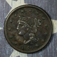 1840 BRAIDED HAIR SMALL DATE LARGE CENT COLLECTOR COIN, SHIPS FREE