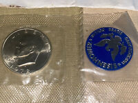 MINT UNC ONE DOLLAR 40 SILVER 1972 COLLECTIBLE EISENHOWER SEALED W/ MEDALLION