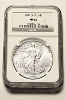1987 AMERICAN SILVER EAGLE - NGC MINT STATE 69