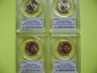 2008 P&D JOHN Q ADAMS PCGS MINT STATE 66 FIRST DAY ISSUE POSITION A&B 4-COIN DOLLAR SET
