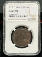 1862 VICTORIA ONE PENNY - SLABBED NGC MINT STATE 63 - GREAT BRITAIN