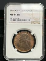 1891 VICTORIA ONE PENNY - SLABBED NGC MINT STATE 64 - GREAT BRITAIN