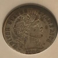 1900-S  BARBER DIME  ,  ALMOST UNCIRCULATED, ANACS AU 53 ,