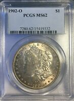 1902 O MORGAN SILVER DOLLAR MINT STATE 62 GOLDEN TONED BEAUTIFUL LOOKING COIN