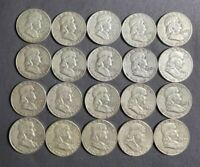 ROLL OF FRANKLIN HALF DOLLARS    90  SILVER. MIXED DATES.