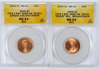 2000 LINCOLN MEMORIAL CENT LOT   ANACS MS 64 RD   TY 2 REV W