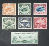 US AIRMAIL STAMPS C1 C6 & C18 BABY ZEPPELIN F VF MNH/H CV $5