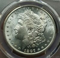 1897-S MORGAN SILVER DOLLAR PCGS MINT STATE 64 GORGEOUS COIN BRIGHT WHITE
