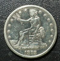 1878 S  $1 TRADE DOLLAR US 90  SILVER COIN HAS FINE DETAILS