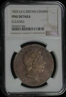 1820 LX NGC FINE DETAILS CLEANED GREAT BRITAIN CROWN  DW1280