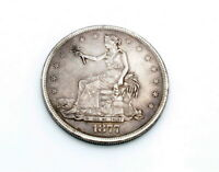 AUTHENTIC 1877 US TRADE DOLLAR SILVER COIN WITH DOCTORED MIN