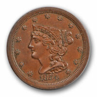 1854 1/2C BRAIDED HAIR HALF CENT UNCIRCULATED MINT STATE BROWN BN 3860