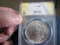 1888-P  ANACS  MINT STATE 60 MORGAN SILVER DOLLAR, ANACS CERTIFIED MINT STATE 60 SILVER $1 COIN