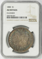 1880 MORGAN SILVER DOLLAR $1 NGC TONED BOTH SIDES AU DETAILS CLEANED RAINBOW