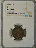 1855 BRAIDED HAIR HALF CENT, NGC MINT STATE 62 BN