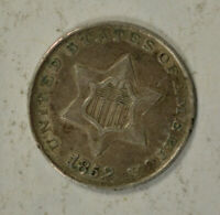 1852 3 CENT SILVER, EXTRA FINE