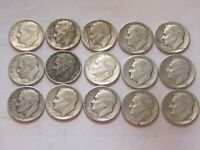 15 1940'S MIXED DATE ROOSEVELT DIMES 90  SILVER ALL GOOD CON