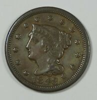 1848 BRAIDED HAIR LARGE CENT EXTRA FINE 1C