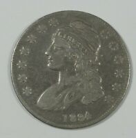 1834 CAPPED BUST/LETTERED EDGE SMALL DATE & LETTERS SILVER HALF DOLLAR FINE