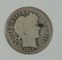 1913-S BARBER DIME GOOD SILVER 10C