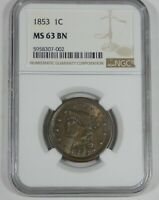 1853 BRAIDED HAIR LARGE CENT CERTIFIED NGC MINT STATE 63 BROWN 1C