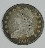 1836 CAPPED BUST/LETTERED EDGE HALF DOLLAR  FINE SILVER 50C