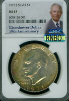 1971 S EISENHOWER DOLLAR SILVER NGC MINT STATE 67 MAC RNBO RAIBOW ONLY 1 FINER .
