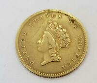 1854 US GOLD $1 TYPE 2 CLEANED/RIM DAMAGE L10621