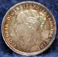 GREAT BRITAIN 1887 3 PENCE SILVER CHOICE AU PRETTY TONING NR 10 22A