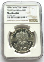 CAMBODIA 1974 DANCERS 5000 RIELS NGC PF64 SILVER COIN,PROOF