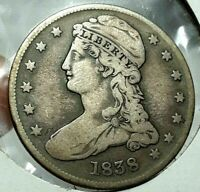 1838 CAPPED BUST HALF DOLLAR 50 CENTS  CIRCULATED CONDITION