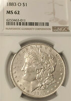 1883-O MORGAN DOLLAR NGC MINT STATE 62 - BEAUTY CLEAN AND  BRIGHT WHITE